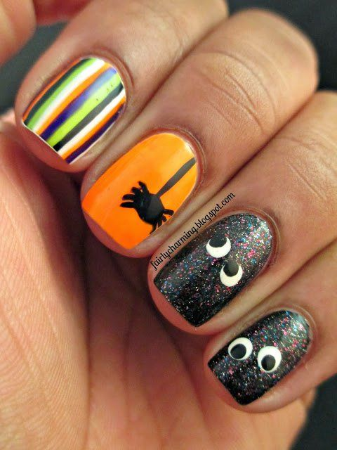 Fun Halloween Nails With Spider and Googly Eyes