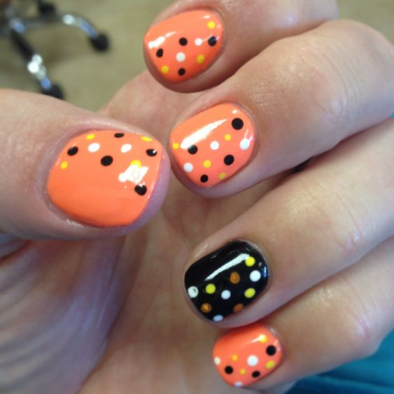 Orange and Black Polka Dot Halloween Nail Art