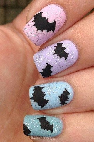 Halloween Nails - Black bats with pastel background and glitter on top - Nail Art