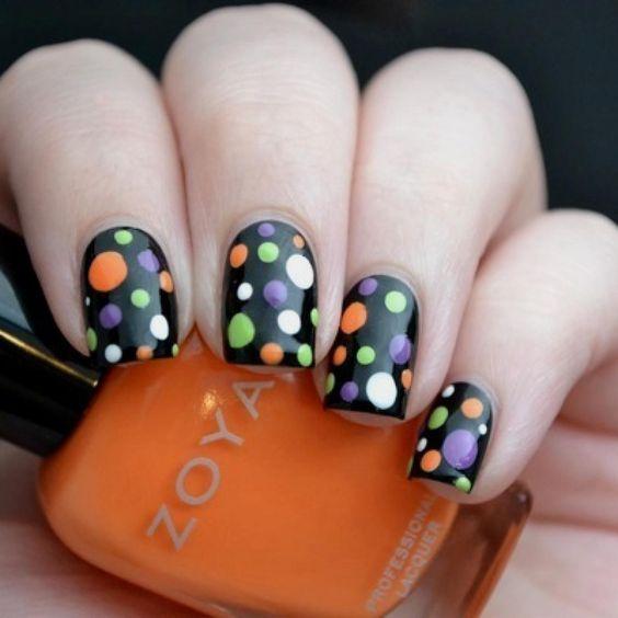 Orange, Purple, White, and Green Polka Dot Halloween Nail Art
