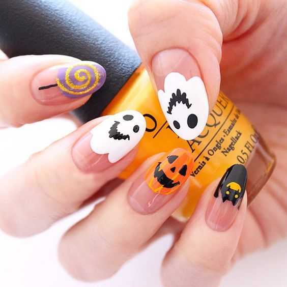 Cute Halloween Nails - Ghost, black cat and pumpkin