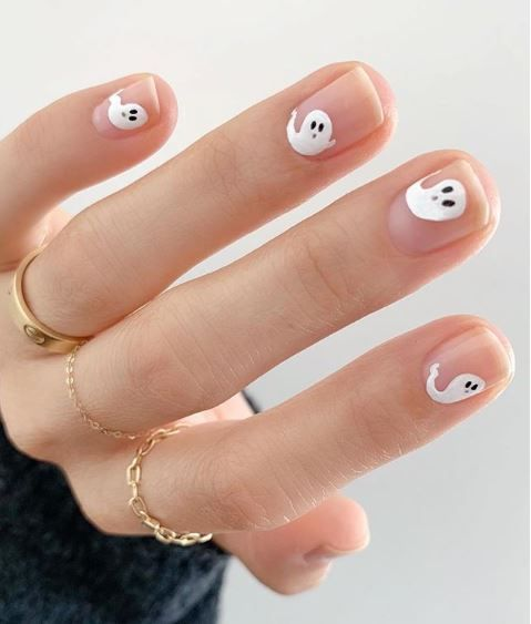 Clear Base With Cute Little White Ghost Halloween Nails