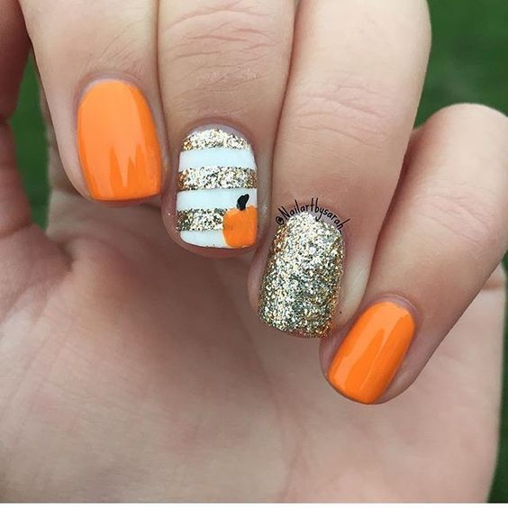 Orange White and Gold Halloween Nails