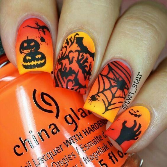 Orange and Yellow Ombre Halloween Nails With Zombies, Spiders and Pumpkin Nail Art