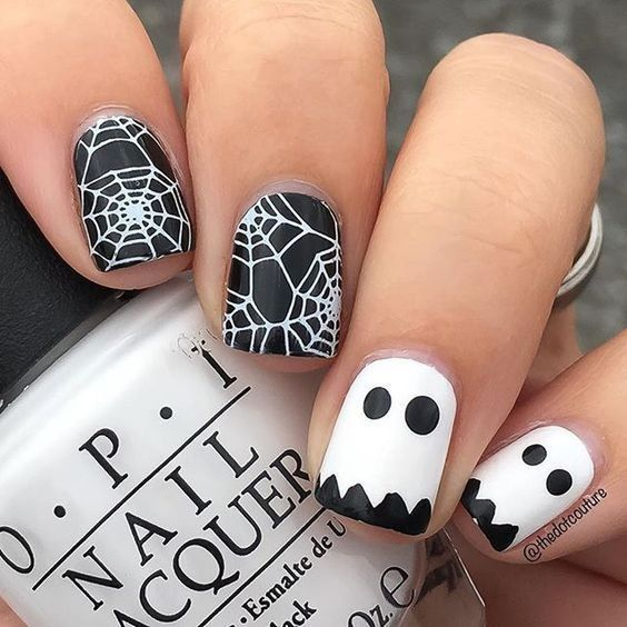 Cute Ghosts and Spider Web Nails With Black Base