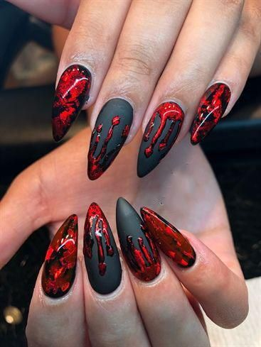 Black and Red Oozing Blood Halloween Nail Art