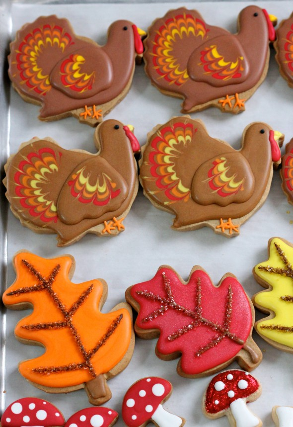 Turkey, Fall Leaves and Mushrooms Thanksgiving Cookies