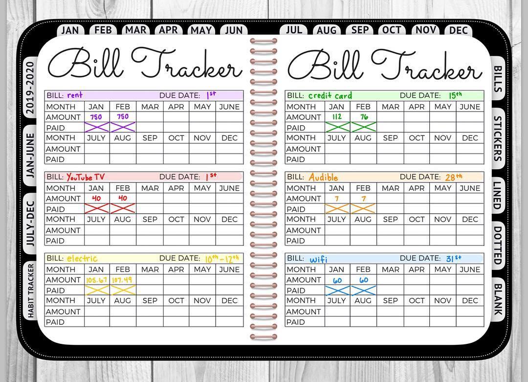 Bill Tracker Bullet Journal