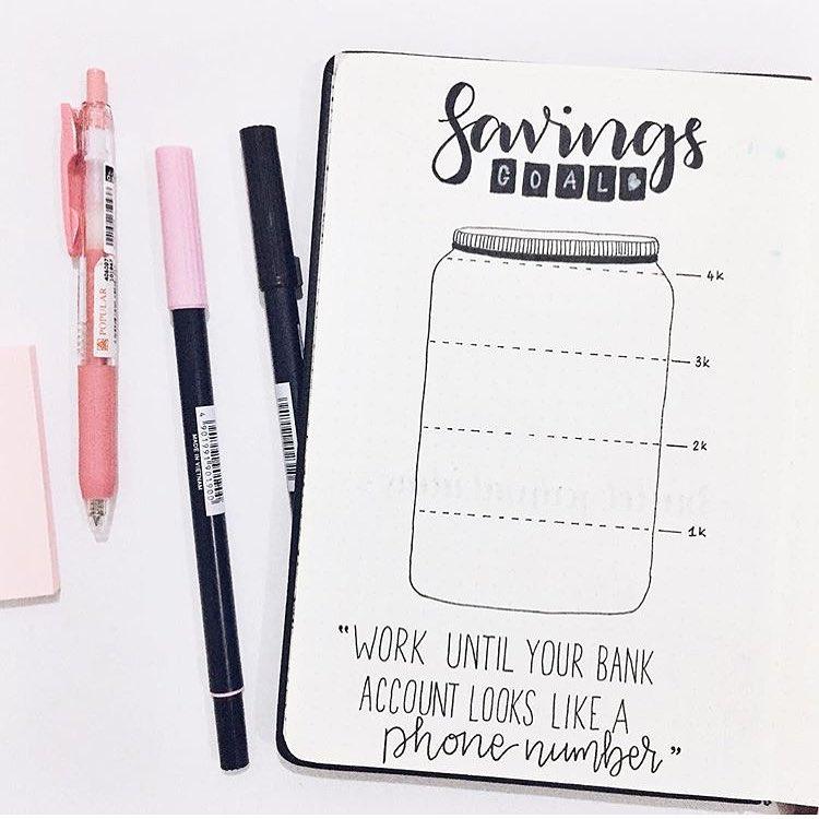 Bullet Journal Savings Goals