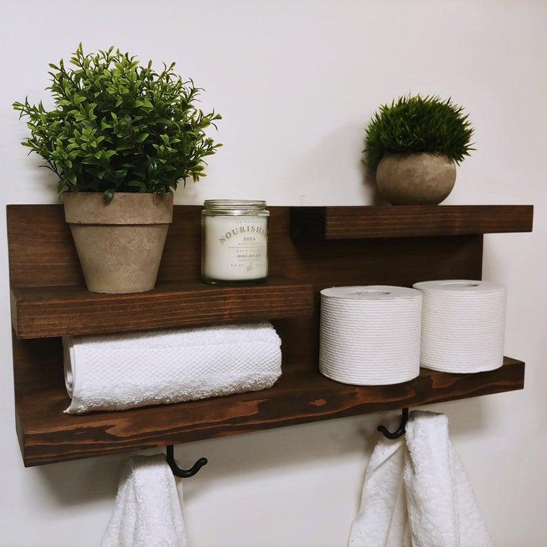 Wood Floating Shelves for Bathroom Organization