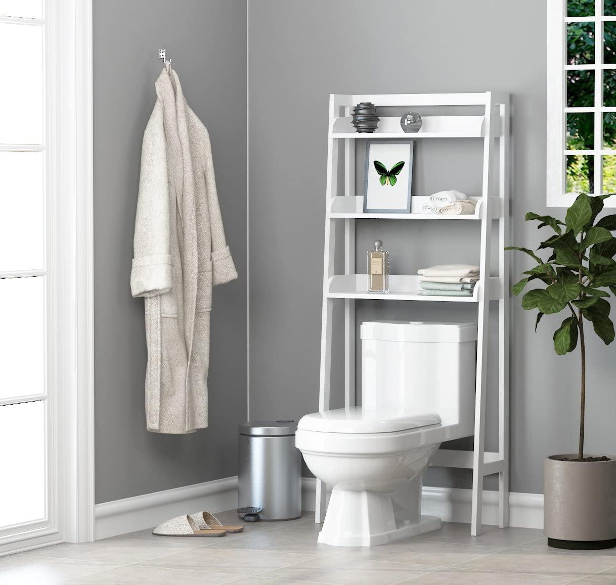 White Over the Toilet Organizer