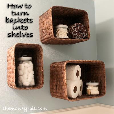 DIY Hanging Baskets Turned Into Shelves