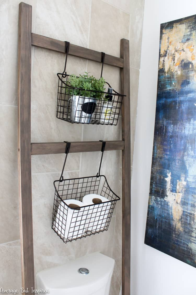 Wire Baskets Over the Toilet Storage Ideas