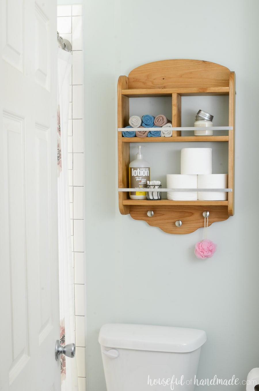 Over Toilet Box Storage With Hooks