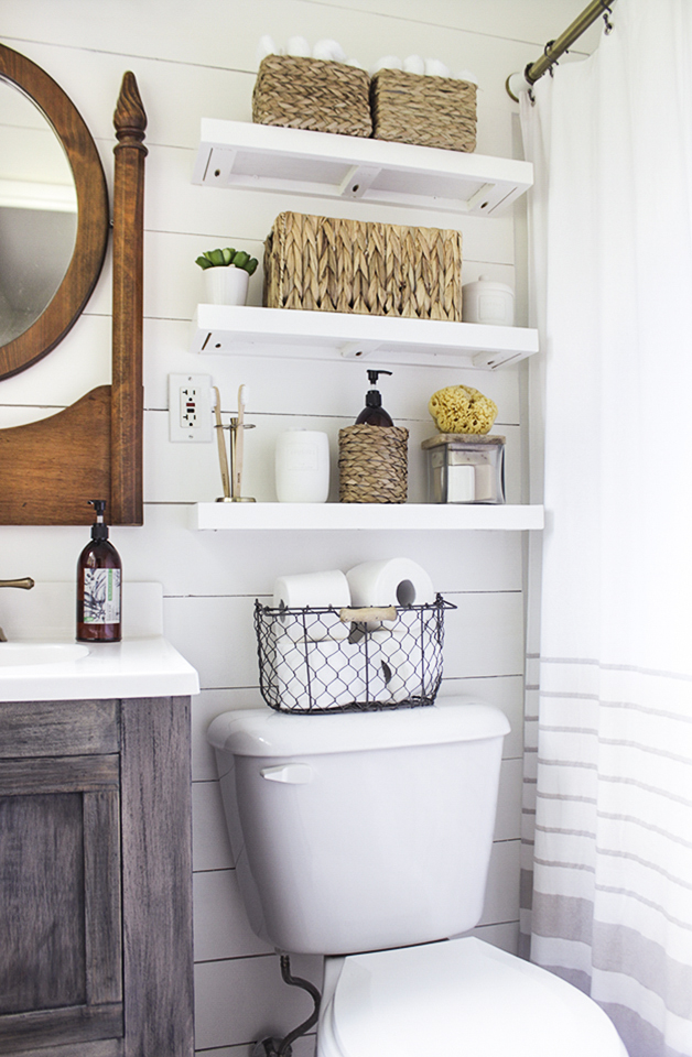 Floating Shelves Over Toilet Storage Ideas