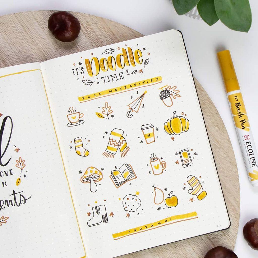 Fall Doodle Ideas: Mushroom + Candy Apple + Mittens + Acorns + Coffee + Umbrella + Scarf + Books + Boots + Apple Cider