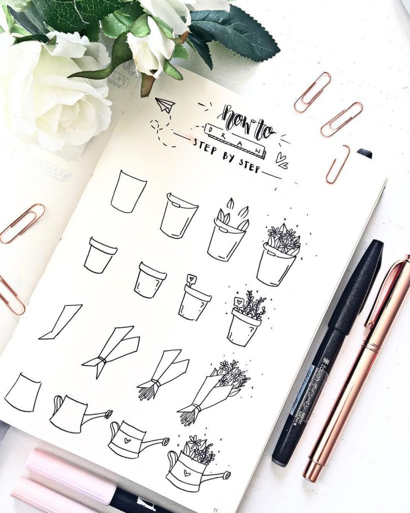 How to Draw Watering Can and Bouquet Step by Step
