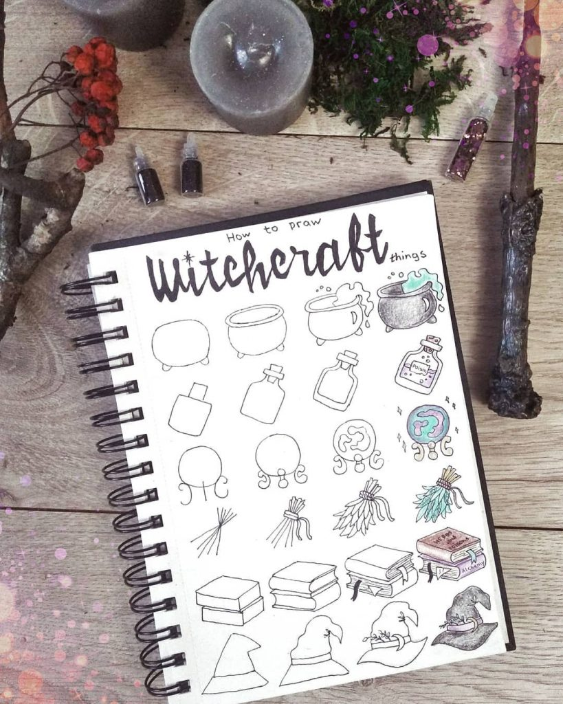 Witchcraft Doodle: Spell Book + Witch Hat + Herbs + Crystal Ball + Poison + Witch's Brew