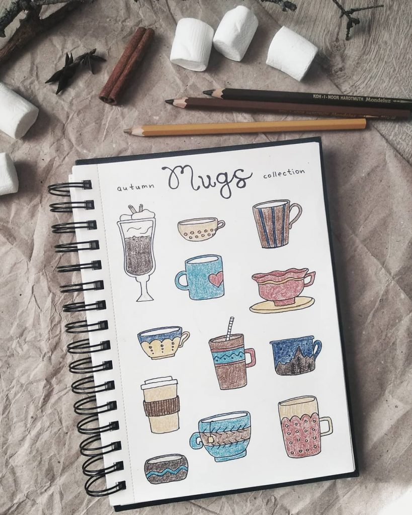 Autumn Mugs Doodles: Cappacinno + Coffee + Latte + Hot Cocoa
