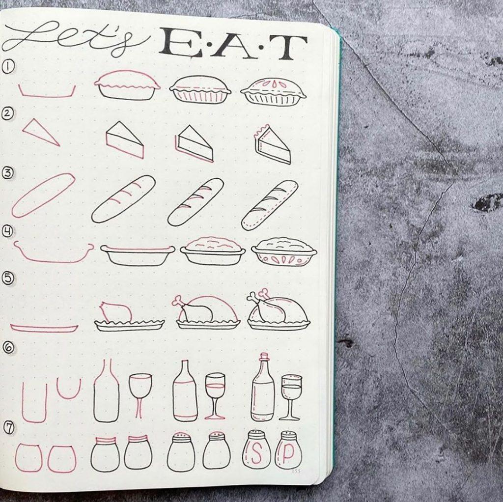 Thanksgiving Pie + Wine + Salt + Pepper Doodle