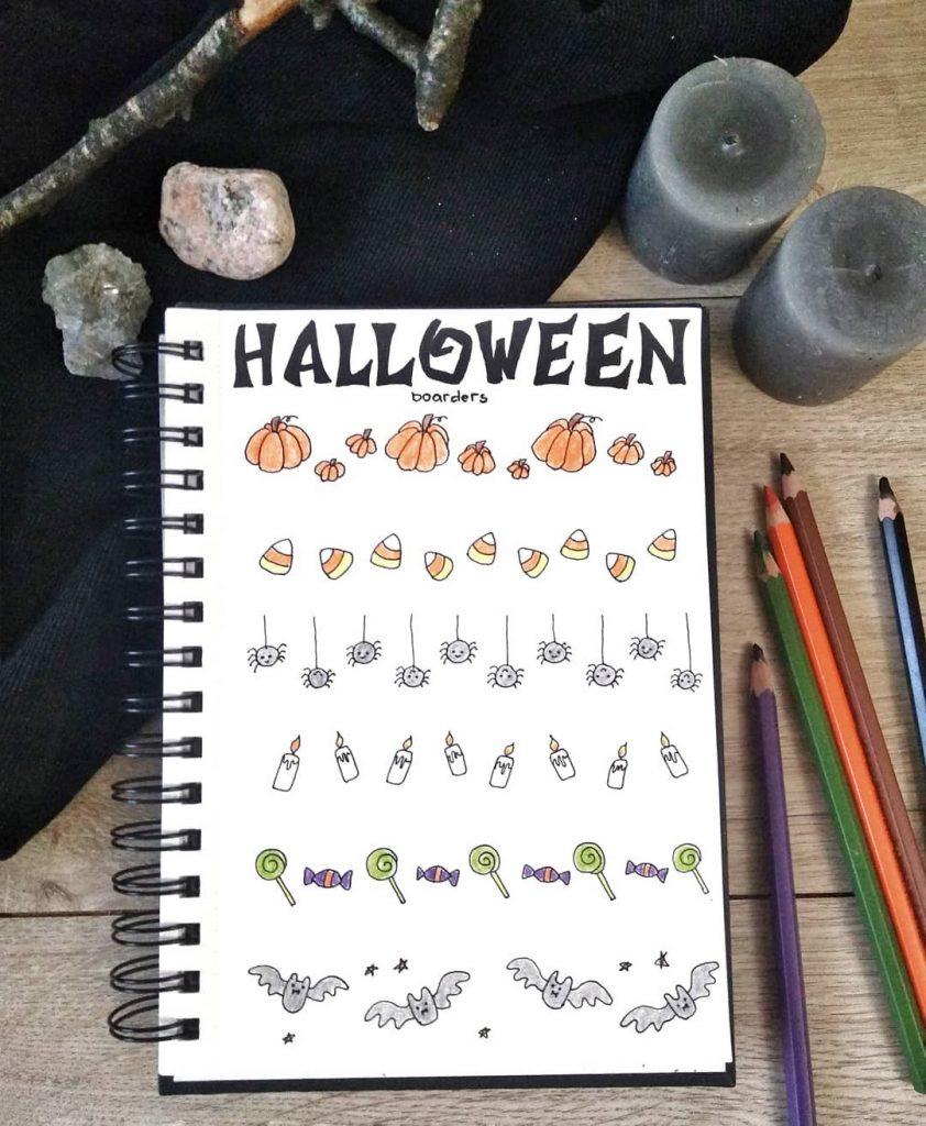 Pumpkin + Candy Corn + Spiders + Candy + Halloween Bats