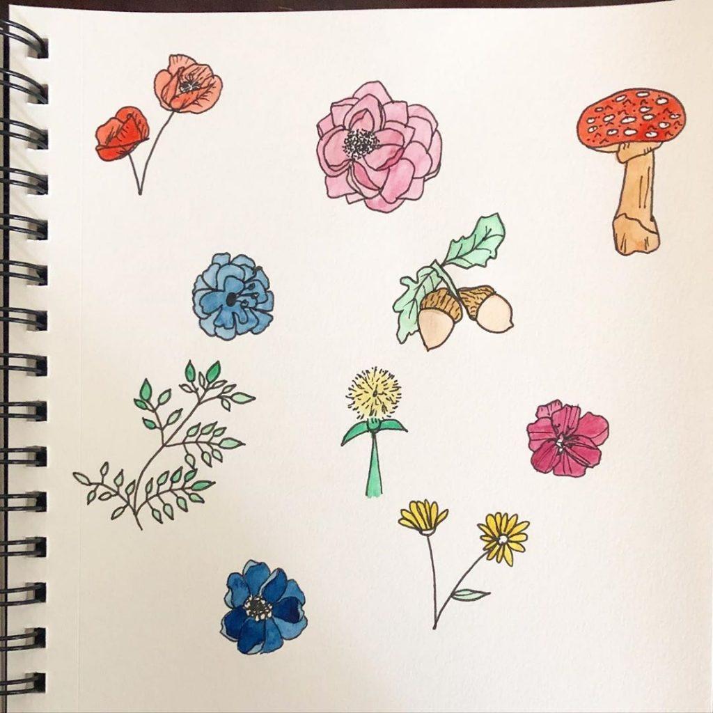 Mushrooms + Flower + Branch + Acorns Doodles