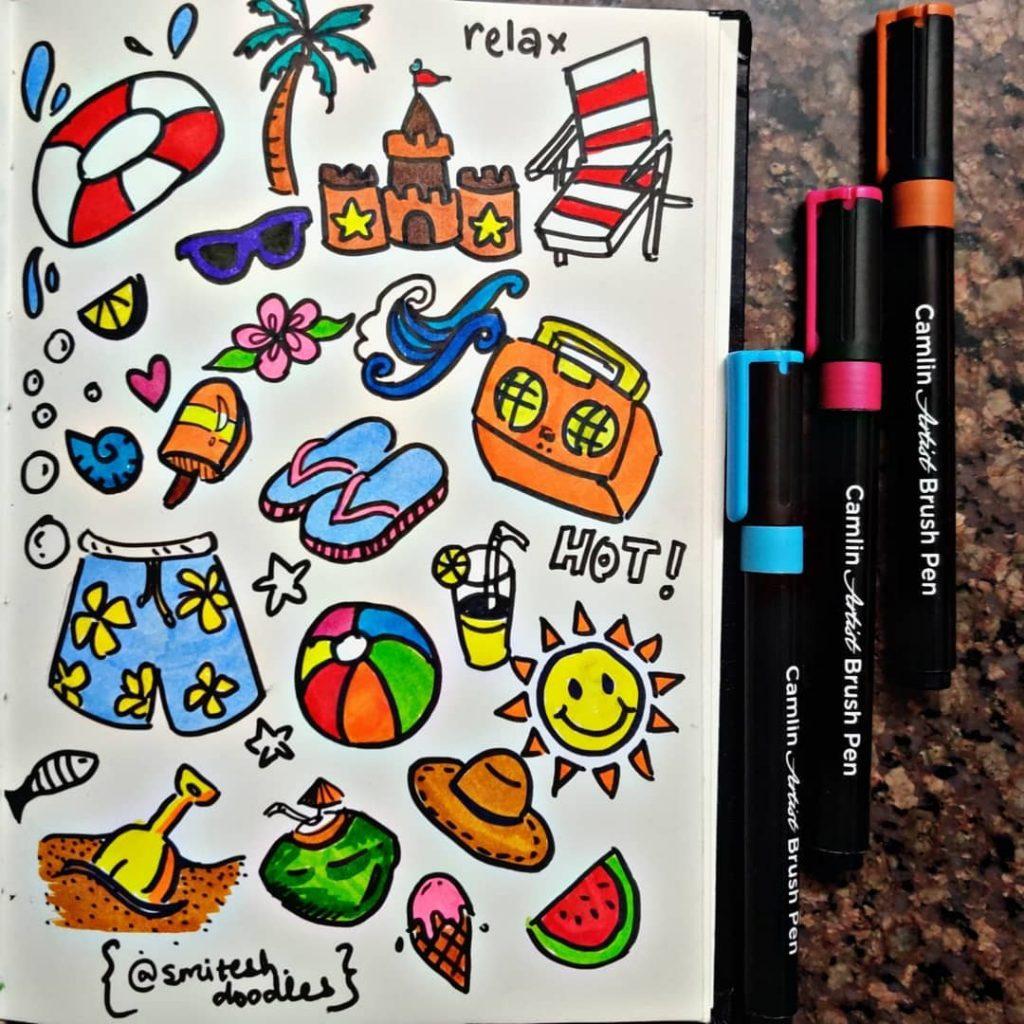 Beach Ball + Watermelon + Shovel and Pale + Ice Cream Cone + Sun + Swim Trunks + Sun Hat + Portable Radio/Boom Box + Fish + Palm Tree + Sandals + Sand Castle + Floatie + Sunglasses + Lemonade + Lounge Chair