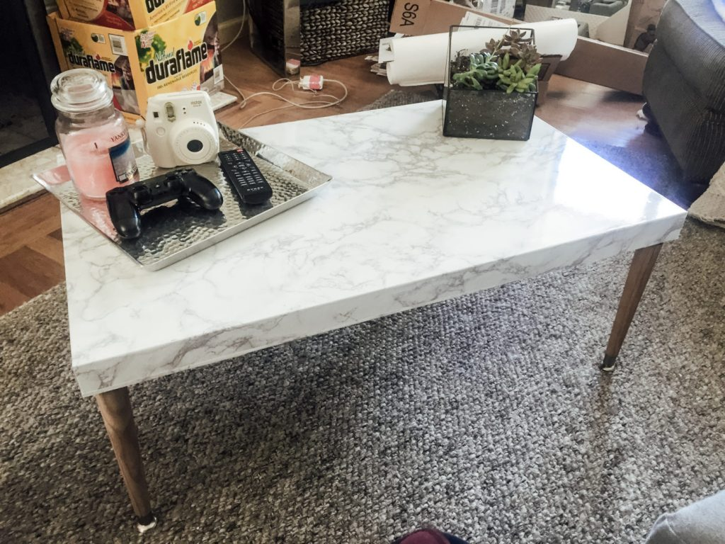 DIY Marble Coffee Table With Wood Legs