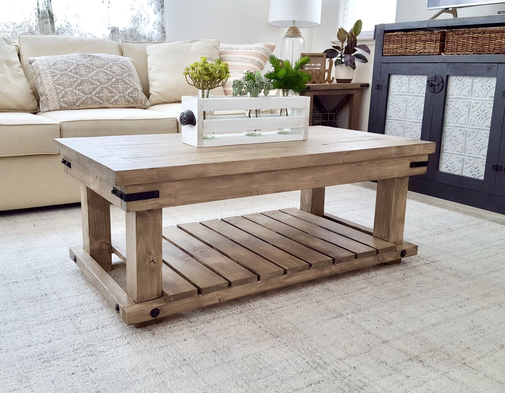 Light Wood Industrial Coffee Table