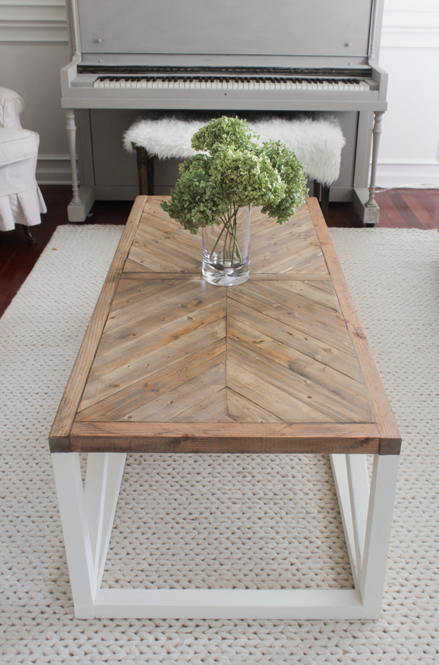 Modern Farmhouse Herringbone Coffee Table DIY