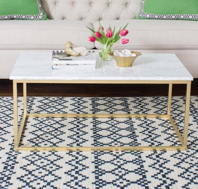 DIY Gold Welded Steel Leg Coffee Table With Faux Marble Top