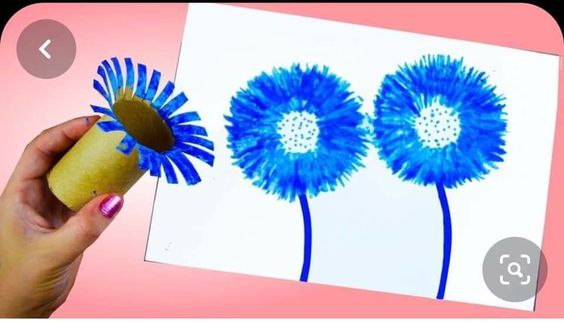 flower painting brush toilet paper roll craft