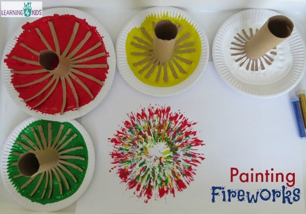 new years crafts - kids fireworks painting