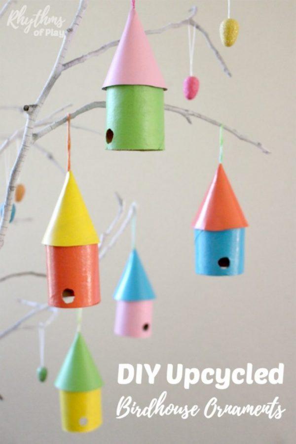 toilet paper birdhouse ornaments