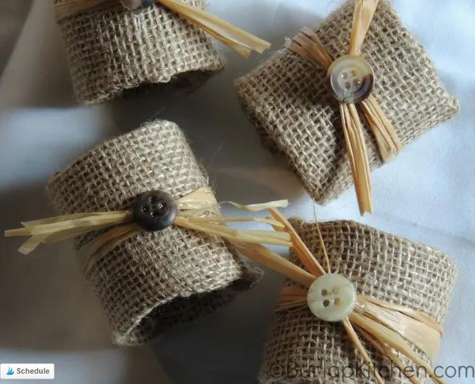 toilet paper craft - burlap utensil rings