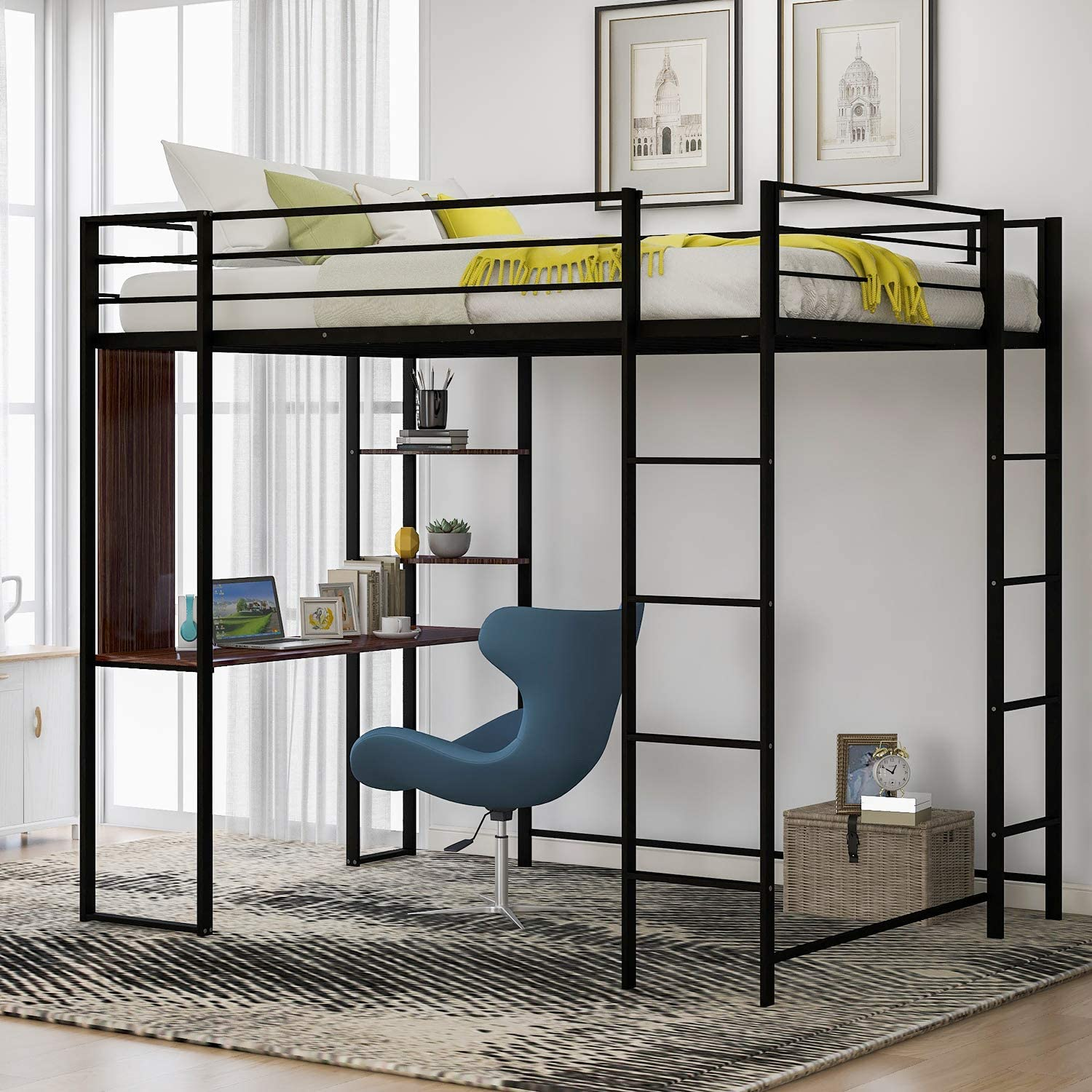 Metal Loft Bed with 2 Ladder and Desk, Storage Shelf, Full-Length guardrail, Space-Saving Design, No Box Spring Needed (Full Black)