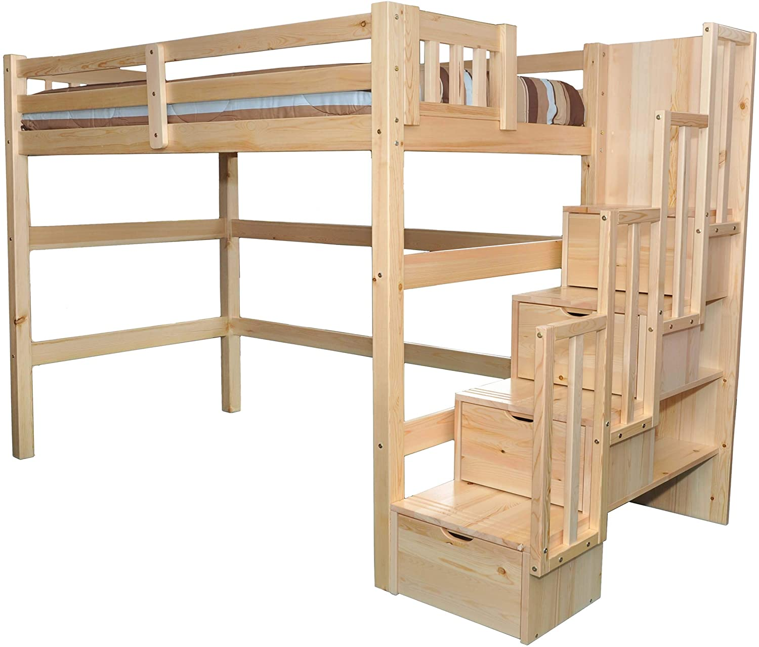 SCANICA Stairway Full Loft Bed with Storage