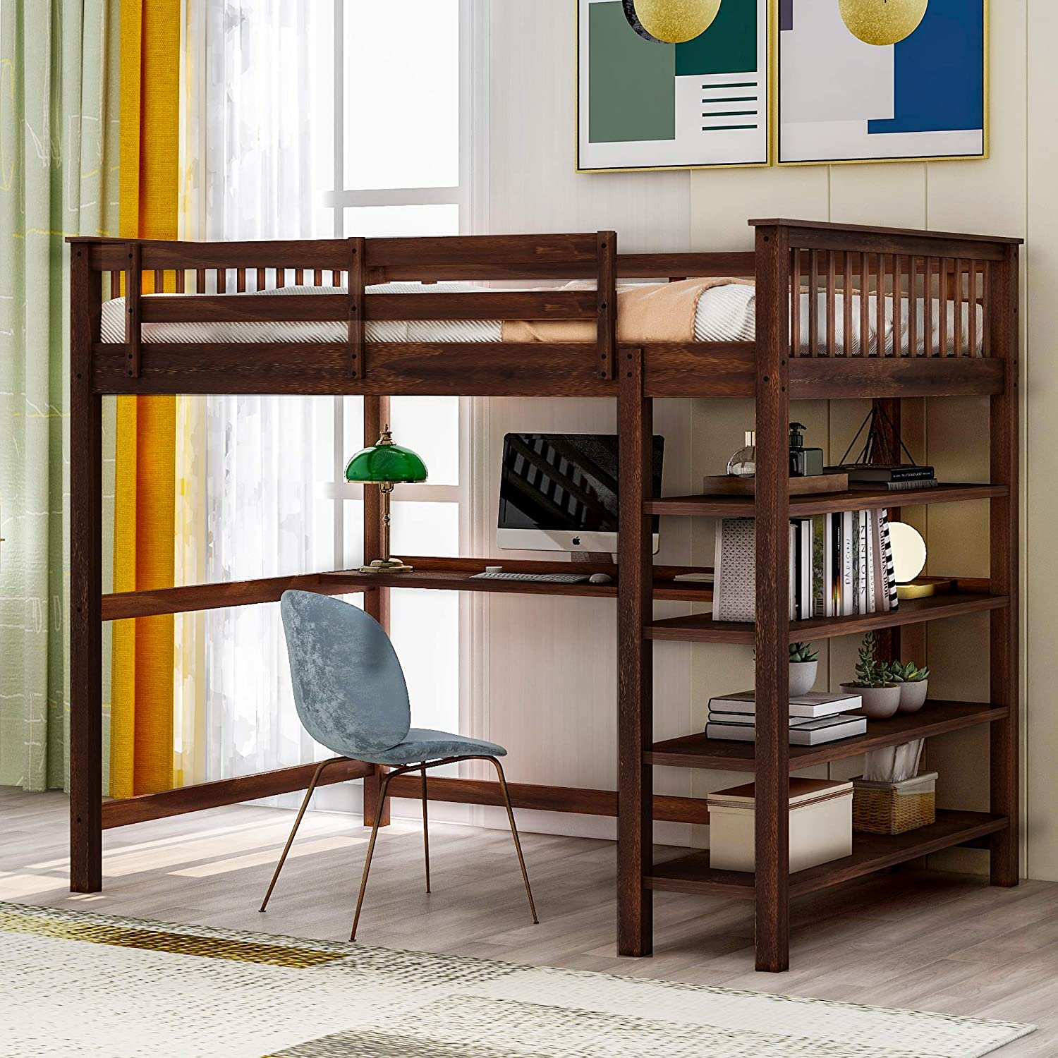 SOFTSEA Wooden Loft Bed Full Size with 4- Tier Bookcase and Under Bed Desk