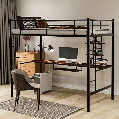 Metal Loft Bed Twin Size with Desk, Loft Bed Full-Length Guardrail, No Box Spring Needed (Black)