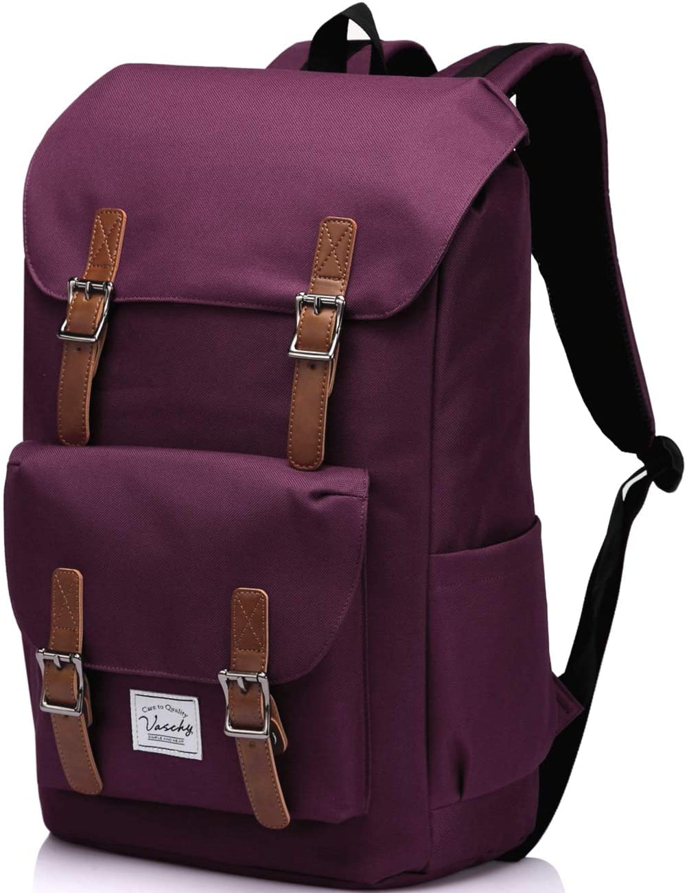 Vintage School Backpack for Women,Vaschy Water Resistant Laptop Backpack Burgundy