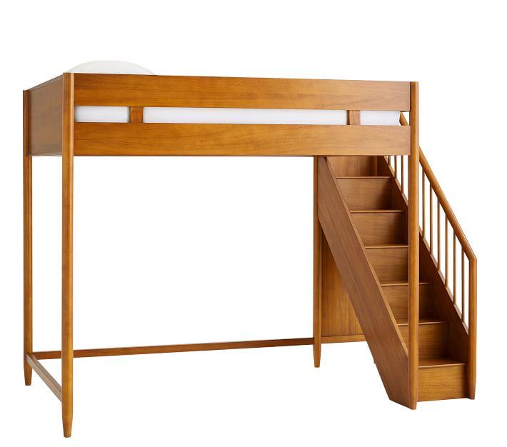 West Elm Mid-Century Stair Loft Bed - Acorn