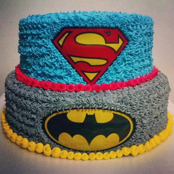 Superman and Batman Twins Cake