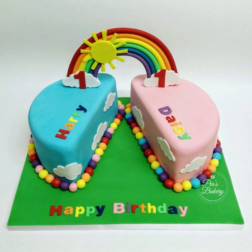 Boy and Girl Twins Rainbow Cake