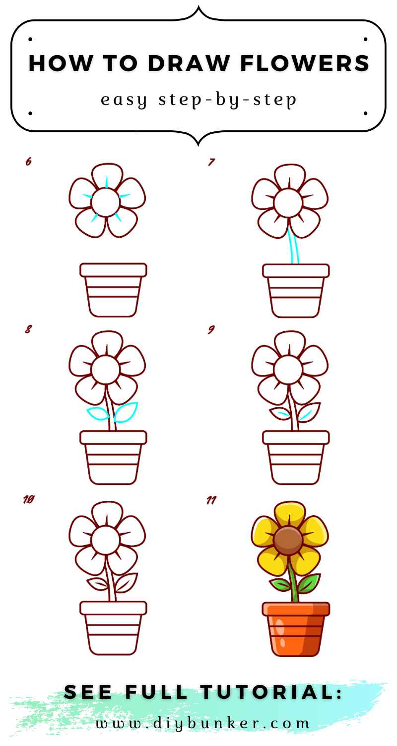 How to Draw Flowers: An Easy Step-by-Step Tutorial [With Video and Printable Pin]